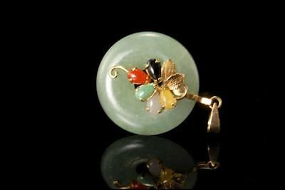 Vintage Chinese Green Jade Disc Multicolor Drop 585 14K Gold Pendant