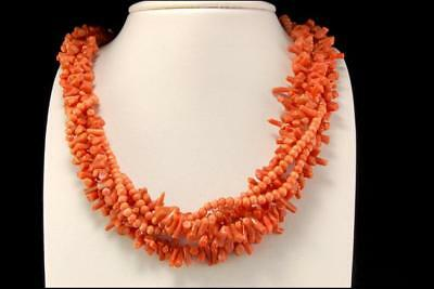 Vintage Chinese Multistrand Salmon Coral Beads Crystal Brass Necklace D68-07