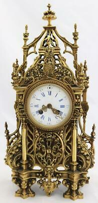 Antique French Mantle Clock 1880 Beautiful Embossed Pierced Bronze Striking 8Day