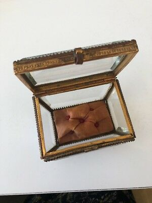 Antique French Beveled Glass Jewelry Ring Box  #6