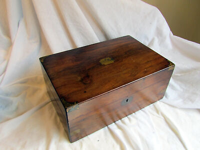 A Lovely Antique Wooden Writing Box With Brass Inlay