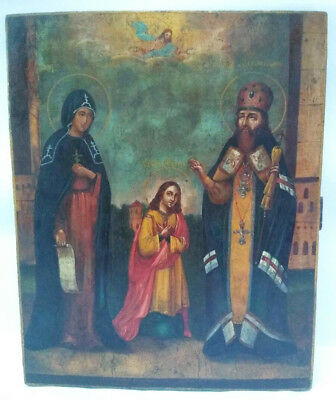 Antique 19th Century Russian Icon of the St.Еudokia, St.Philip and St.Nicholas
