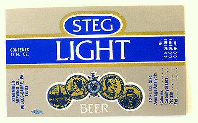 Stegmaier Brewing Co STEG LIGHT beer label PA 12oz