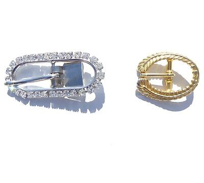 Vintage Rhinestone Belt Buckle and Gold Tone Metal Feather Belt Buckle, Lot of 2