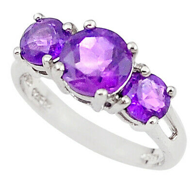Natural purple amethyst 925 sterling silver ring jewelry size 6 a71753