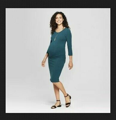 fd037488634f9 Isabel Maternity 3/4 Sleeve Shirred T-Shirt Dress - Green Heather XS-