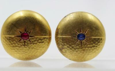 Art Deco German 14K Yellow Gold Hammered Sapphire & Ruby Drgm Signed Earrings