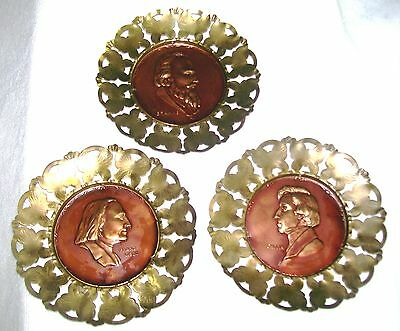 "Set Of 3 Copper & Brass Composer 5.75""Wall Plaques'franz,Chopin,Brahms , England"