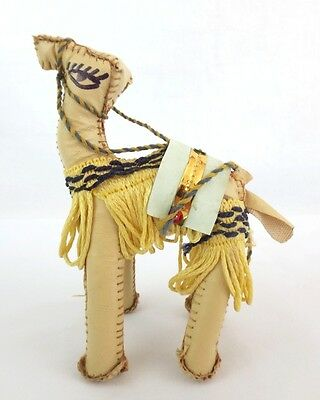 "Hand Crafted Leather Camel Figurine Decorative Fringe & Sequin Accent 6.5"" Tall"