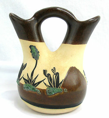 """Southwest Wedding Vase BETTY SELBY Cacutus Miniature Pottery 5"""" Tall Signed"""