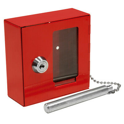 BARSKA Compact Emergency Key Box w/ Attached Hammer and Key in Red, AX11838