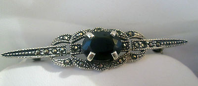 Abalone shell & marcasite Victorian style Pendant / Brooch Pin Sterling Silver
