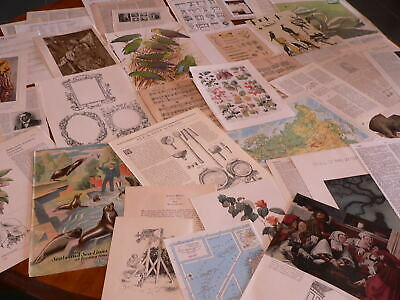 50 Vintage papers,page dictionary music paper, altered art collage craft  PK 12