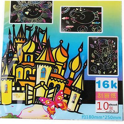10 Sheets 16K Colorful Scratch Art Paper Magic Painting Paper Drawing Stick CO