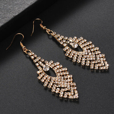 Women Rhinestone Crystal Pendant Chandelier Long Drop Earrings Jewelry Gift CO