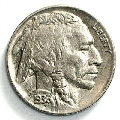 1936 Buffalo Nickel - AU - 5c Copper-Nickel - About Uncirculated