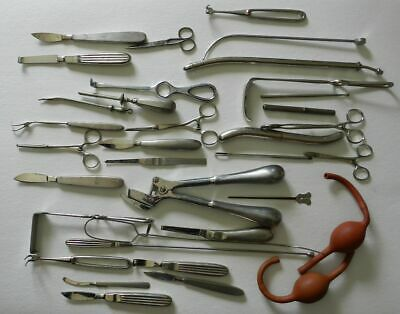 COLLECTION OF OLD SURGICAL INSTRUMENTS + STERILIZER - Early to Mid 20th Century