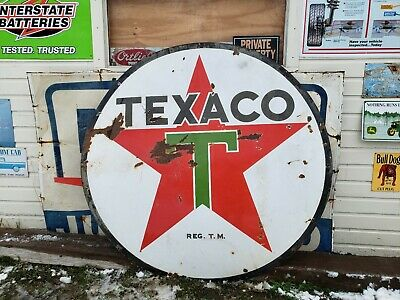 Original TEXACO Double Sided Porcelain Gas Oil Sign  Gasoline station Dealer