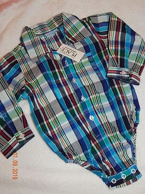 NWT The Childrens Place Boys 12-18 Months Plaid Oxford Spring One piece Handsome