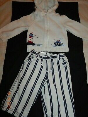EUC Baby Gap Boys 6-12 Months NAUTICAL Lighthouse Anchor Sweater and Pants SET