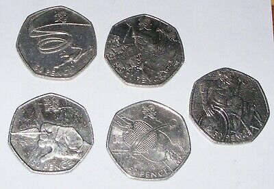 5 London Olympic 50p Coins - Archery Table Tennis Gymnastics Canoeing Rugby 2011