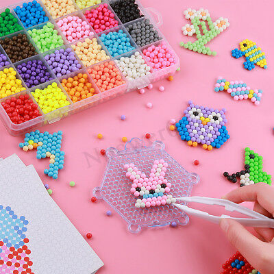 1200Pcs 12 Color Fuse Beads Water Sticky Beads Craft Toy Kid Puzzle Refills DIY