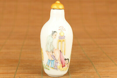 unique chinese old porcelain hand painting art figure statue snuff bottle lovely