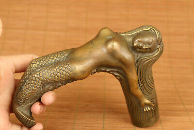 Rare chinese old bronze hand carved mermaid statue figure Walking Sticks/Canes
