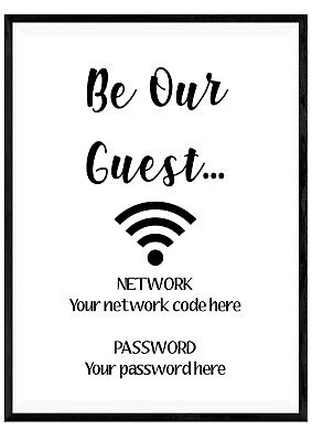 f0960432f5a94 PERSONALISED WIFI PASSWORD Print Wall Art Poster Sign Home Decor Typography