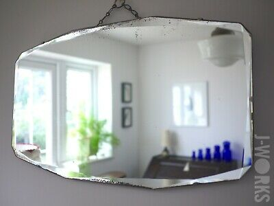 Large Vintage Frameless Foxed Mirror Bevelled 1930s Art Deco Mantle Cut Glass