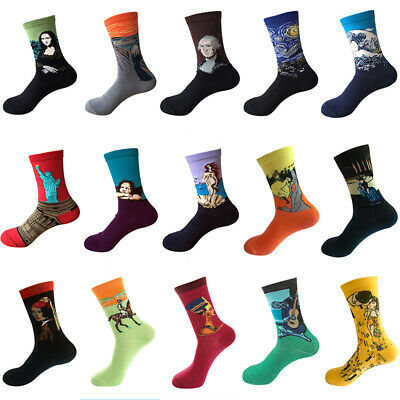 Men Women Famous Painting Socks Art Novelty Starry Night Retro Breathable Socks