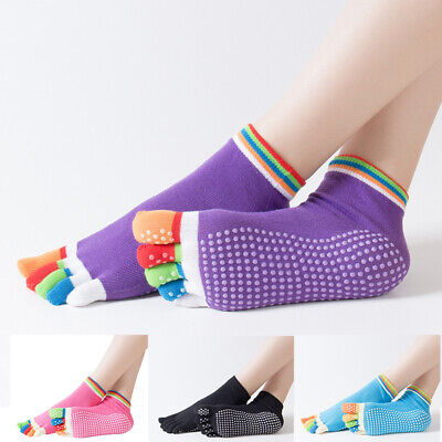 Women Yoga Socks Sport Grip Gym Anti-slip Socks New Pilates Massage 5 Toes Socks