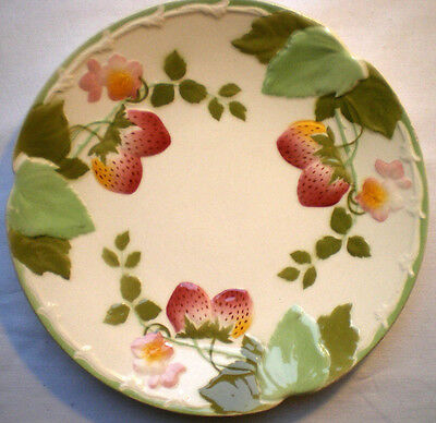 RARE French Majolica plate signed Choisy le Roi: Strawberries
