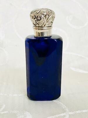 Antique Bristol Blue Cut Glass Perfume Scent Bottle Silver Lid C1880