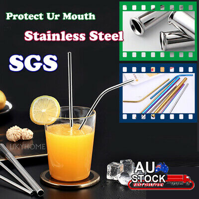 4-12X Stainless Steel Straw Reusable Metal Drinking Straws Bent Washable + Brush