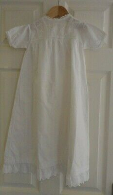 Vintage White Cotton Baby Christening or Night Gown Size 6 months
