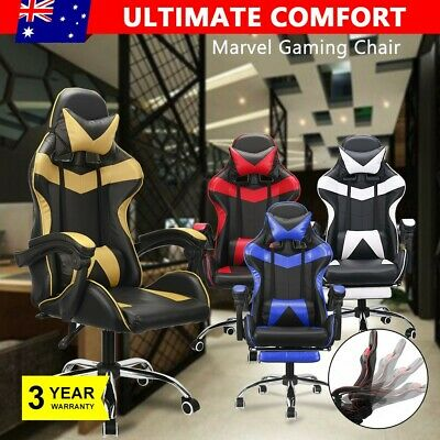Gaming Racer Chairs Office Computer PU Leather Seating Racing Footrest Executive