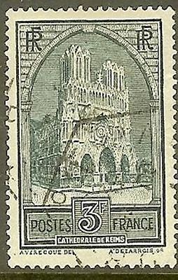 """France Timbre Stamp Yvert N° 259 C """" Cathedrale Reims 3F Type Iv """" Oblitere Tb"""