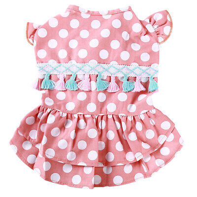 Pet Dog Summer Fashion Dress Dotted Printed Dress Puppy Colorful Apparel CB