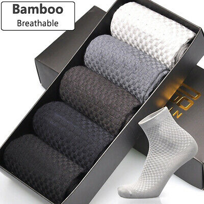 Men Socks Casual Deodorant Solid Casual Anti Bacterial Fiber Soft Bamboo Socks