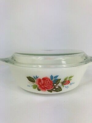 "retro vintage pyrex dish with lid cottage rose white size 6.5"" made in england"