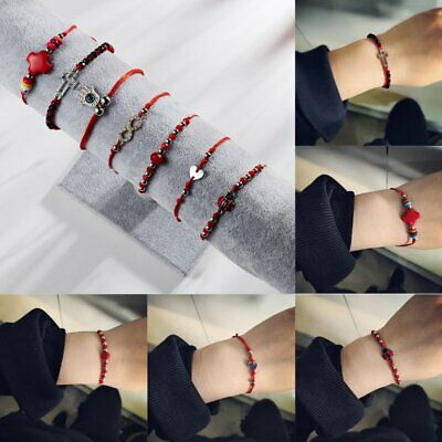 Lucky Heart Charm Crystal Red String Love Braided Bracelet Friendship Jewelry