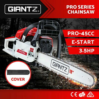 "GIANTZ 45cc Commercial Petrol Chainsaw 18"" Bar E-Start Chain Saw Tree Pruning"