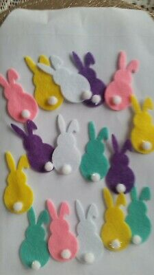 Self Adhesive Pack  -  Felt  Bunny Embellishments/Toppers X16  -  Easter Craft