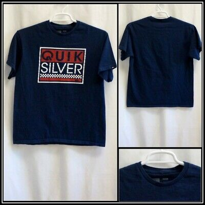 Quiksilver Blue with Red White Graphics Cotton T Shirt Sz (M) Medium #15583