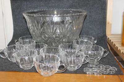 Vintage Clear Glass Punch Bowl And 12 Clear Glass Cups 7 Hangers