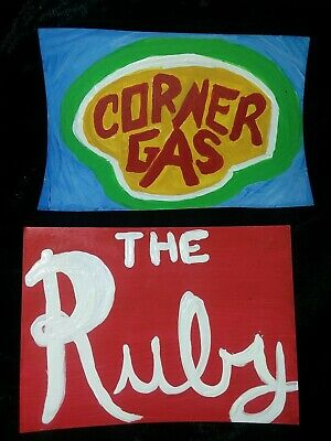 2 original PAINTING artist trading cards SIGNED ACEO Corner Gas Ruby Cafe signs