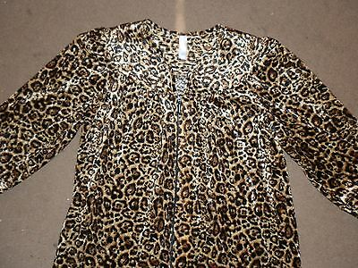 Womens Simply Basic Animal Print Crushed Velour Zip Lounge Nightgown  Robe Sz S