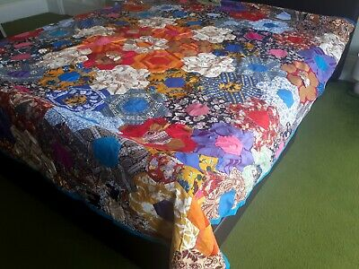 Vintage (1970s) Hand-Made Double Bed Quilt/ Home Throw. Retro Fabric Hexagons
