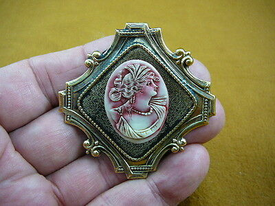 (cred-31) Greek Roman Woman leaf in hair ivory lady red CAMEO brass Pin Pendant